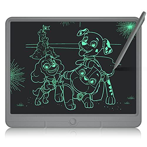 GUYUCOM LCD Schreibtafel 15 Zoll, Schreibtafel Kinder, Bunte Helle Linien Mal Tablet, Verbessertes Tier Schreibtafel Elektronisch, Großartige Magic Pad Kinder Lernspielzeug und Geschenke für Kinder