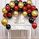 PartyWoo Ballon Rouge Noir Or, 45 pcs Ballon Or, Ballon Bordeaux, Ballon Noir, Ballon Rouge et Noir, Ballon Or Rouge pour Deco Anniversaire Bordeaux, Iron Man Decoration, Decoration Rouge et Noir