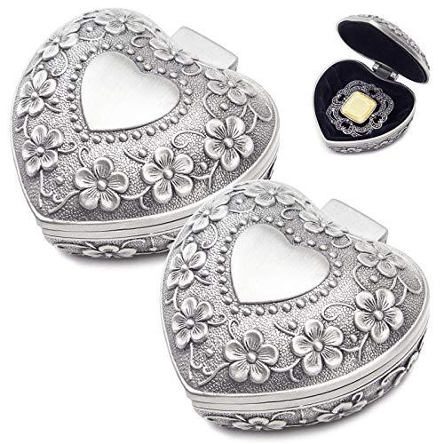 WZYTEU 2 piezas joyero de aleación de cinc con forma de corazón para pedidas de compromiso y anillos, collar de joyería