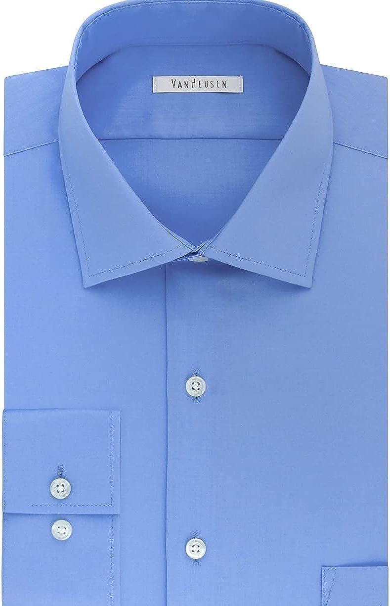 Van Heusen Men's Magnaclick Regular Fit Solid Spread Collar Dress Shirt