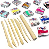 FIMO Effect Modelling Clay Professional Set -12 x 57g + 7 Pro Moulding Instruments