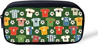 Football Pencil Case Big Capacity Pencil Bag Makeup Pen Pouch Durable Students Stationery Zipper Pen Holder for School Office