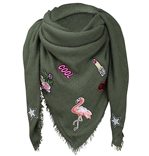 XXL PATCHES STICKER Flamingo Damen Karo Schal Tuch Karoschal Halstuch Fashion Plaid Loop Olivgrün