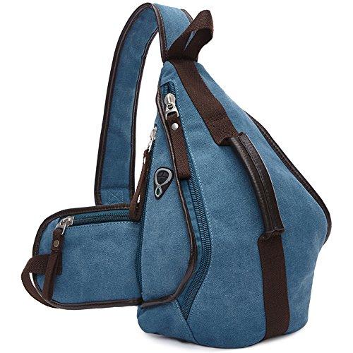 Gendi unique épaule pochette triangulaire incliné sacs à glissière couleur solide must-have sac de voyage de loisirs de mode (Bleu)