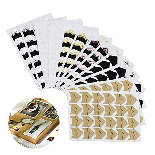 Hentek 15 hojas Photo Corners Autoadhesivas, 6 colores 288 piezas Esquinas de montaje de álbumes de fotos para álbumes de recortes, álbumes de fotos, diarios, etc.