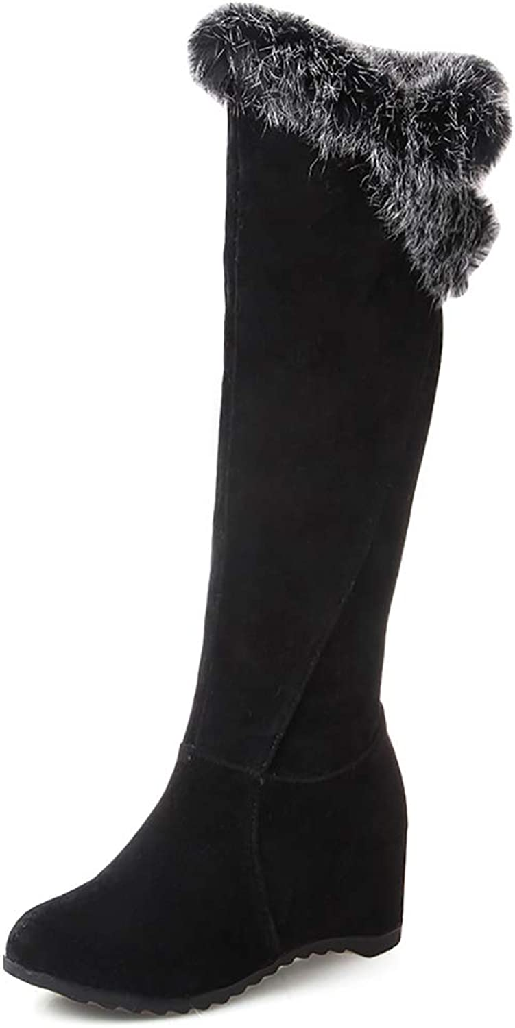 TAOFFEN Womens Wedge Heel Long Boots Pull On