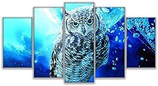 NVSHENY-LOVED Canvas Wall Art Pinturas en Lienzo Arte de la Pared para Sala de Estar hogar Cuadros Decorativos 5 Piezas Imagen de búho Azul HD Impresiones DEC