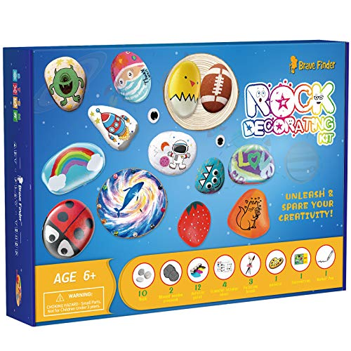 Rock Painting Kit -DIY Arts and Crafts Kits for Kids - Supplies for Painting Rocks for Girls, Boys Age 4-12-Craft Kits Art Set idea for Kids Activities with Waterproof Paints