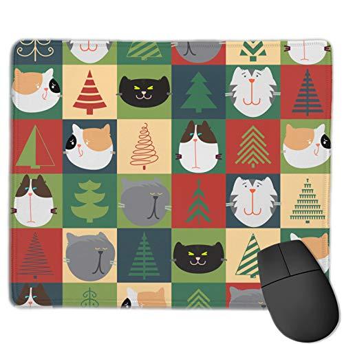 Almohadillas de ratón impresas gráficas 9.84x11.82 pulgadas gato que cubre el árbol de Navidad decoración del juego de oficina para accesorios de escritorio