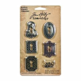Metal Keyholes with Long Fasteners by Tim Holtz Idea-ology, 5 Keyholes, 10 Long Fasteners, Various Sizes, Antique…