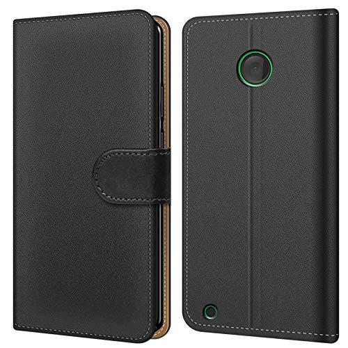 Conie BW26767 Basic Wallet Kompatibel mit Nokia Lumia 530, Booklet PU Leder Hülle Tasche mit Kartenfächer & Aufstellfunktion für Lumia 530 Hülle Schwarz