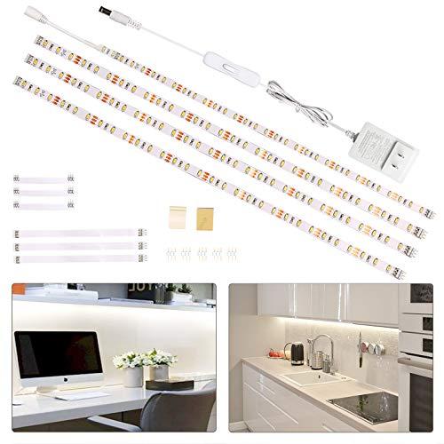 Wobsion LED Band 2m, Kuechen LED Unterbauleuchte, 4X50cm Lichtleiste mit Schalter, LED Strip Weiß, Küchenbeleuchtung Stripes,LED Schrankbeleuchtung,Regalbeleuchtung1200 LM 6000K, Küchenlampe……