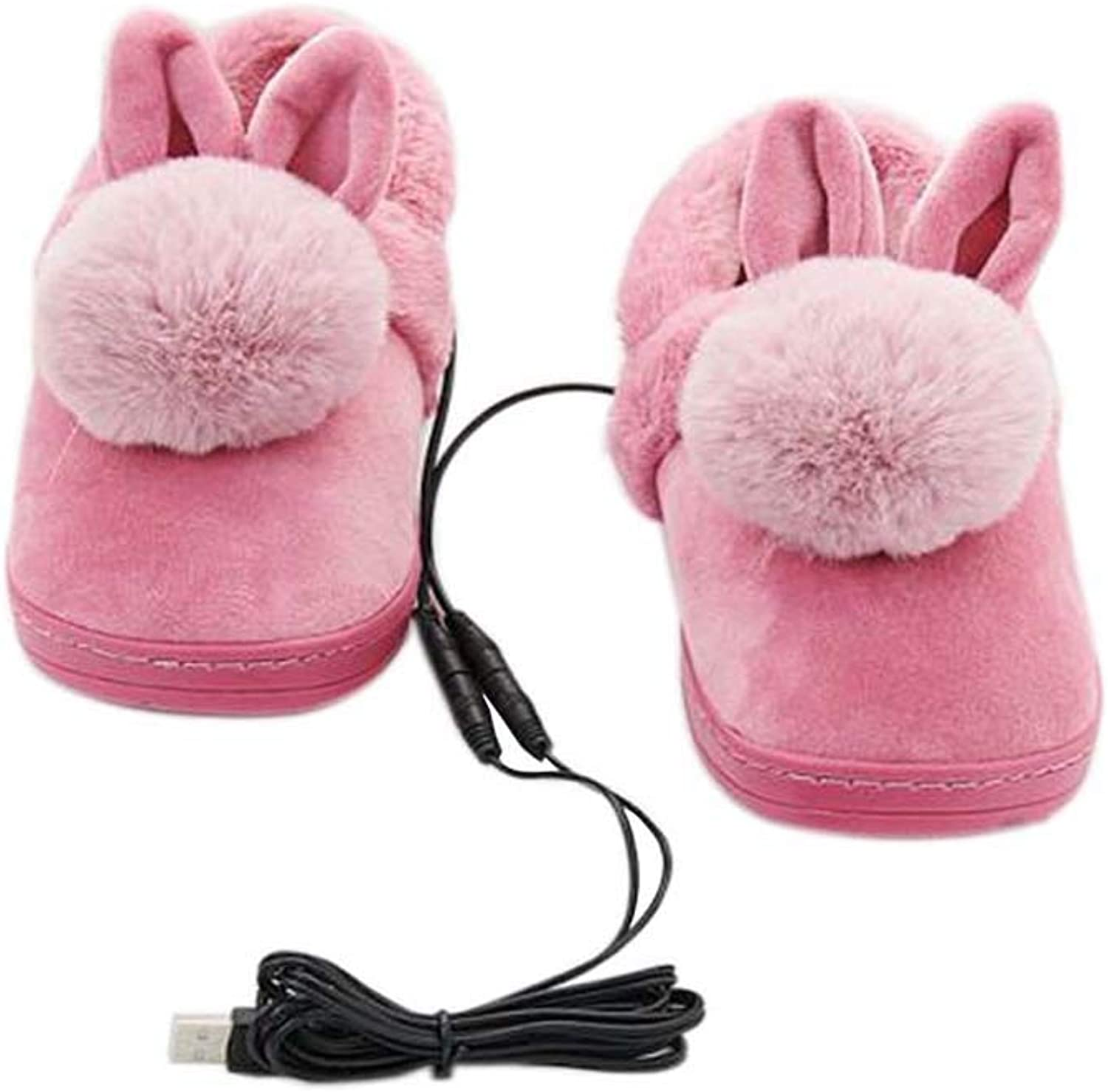 [pink red Rabbit] Heating shoes Warm USB Electric Heated Slipper USB Foot Warmer for Winter 24cm