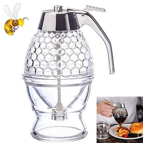 Honey Dispenser Acrylic Reusable Honey Jar with Stand Honey Container No Drip Pressed Honey Syrup Stand for Glass Dispenser Dispenser 200m