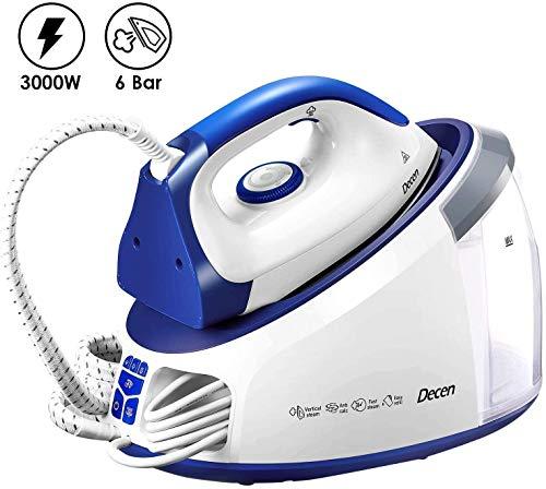 Dampfbügelstation 3000 W Dampfbügeleisen Dampfdruck 6 bar(Variabler Dampf 0-140 g/min, Dampfstoß: 480 g/min, 1,7L Abnehmbarer Wassertank, Automatische Reinigung) Weiß/Blau