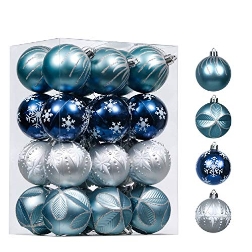 Valery Madelyn 24ct 60mm Winter Wishes Silver and Blue Christmas Ornaments, Shatterproof Christmas Ball Ornaments Decoration for Christmas Tree