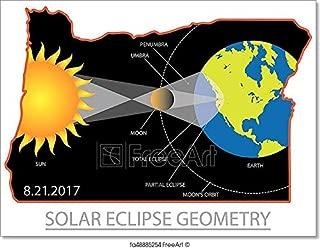Barewalls 2017 Solar Eclipse Geometry Across Oregon Cities Map Illustration Paper Print Wall Art (30in. x 40in.)
