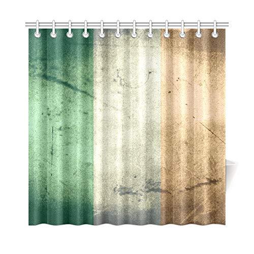 JOCHUAN Wohnkultur Bad Vorhang Grunge Flagge Irland Polyester Wasserdicht Duschvorhang Für Badezimmer, 72X72 Zoll Duschvorhang Haken Enthalten