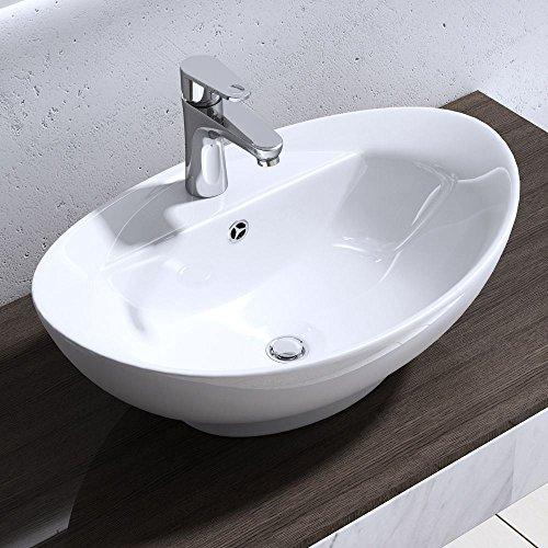 Seasofbeauty Luxueuse Vasque à Poser en Céramique Lavabo Ovale Blanche avec Bonde Pop-up (59x39x21 cm)