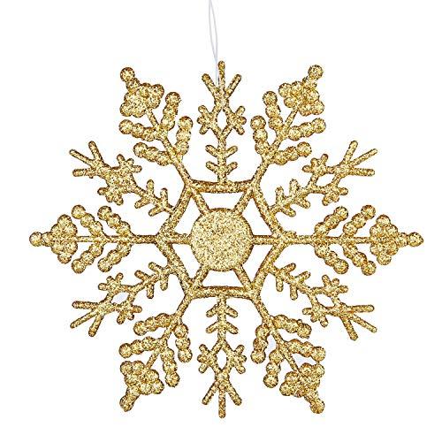 Deggodech 12 Stück 10cm Glitter Schneeflocken Deko Plastik Aufhängen Weihnachtsbaum Hängende Ornamente Schneeflocke hängend Weihnachtsbaumschmuck Weihnachtsdeko (Gold)