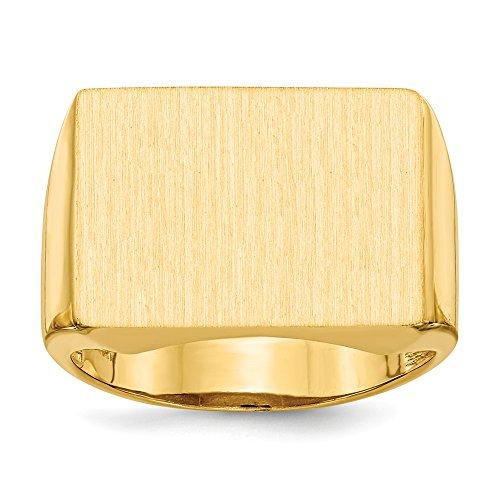 Diamond2Deal Anillo de oro amarillo macizo de 14 quilates para hombre, talla 10
