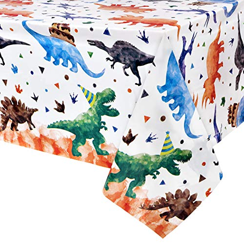 WERNNSAI Dinosaurio Mantel - 2PCS 137 x 274cm Suministros para Fiestas de Dinosaurios para Niños Dinosaurio Decoración para Fiestas de Cumpleaños Plástico Rectangular Cubierta de Mesa Desechable
