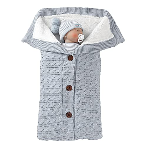 Newborn Baby Swaddle Blanket Fleece Stroller Wrap Nap Blanket Plus Velvet,Baby Kids Toddler Thick Knit Soft Warm Blanket Swaddle Sleeping Bag Sleep Sack Stroller
