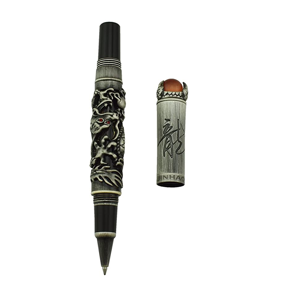 Jinhao Chinese Dragon Gray Roller ball Pen for Journal Writing, Travel Diary with Pen Pouch and Jewelry on Top Heavy Pen