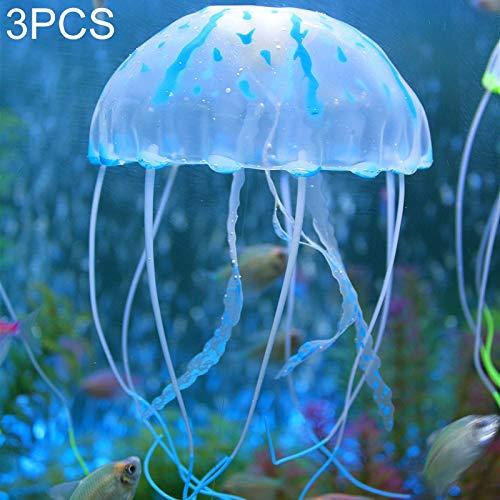 MINGFENG Künstliche Aquarium und Dekoration Dekoration 3 Stück Aquarium Artikel Silikon Fluoreszierend Sucker Medusa Größe 10 x 23 cm (Orange)