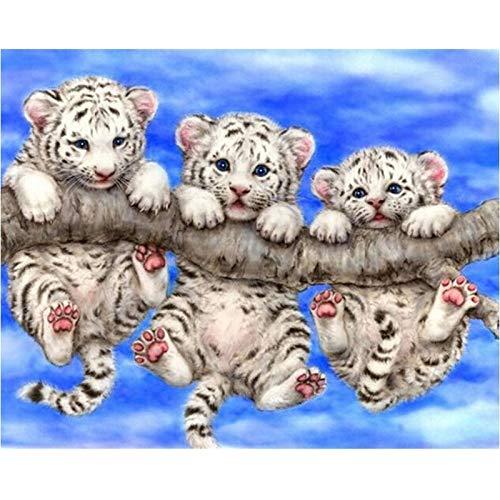 Rhpnyi Pintura de Diamante Tigre Bordado de Diamantes Animal 45x60cm