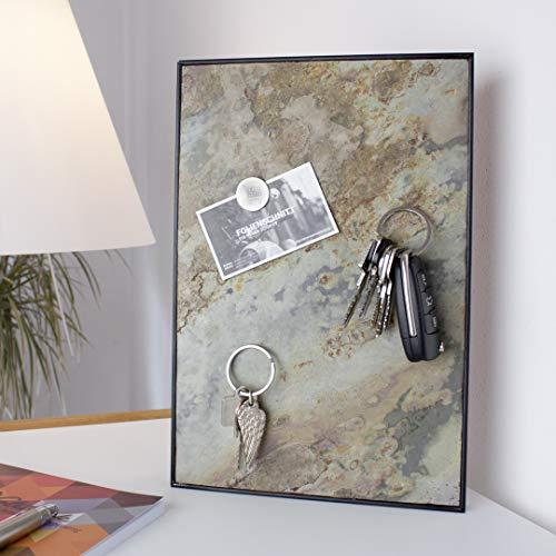 Steinmine - Designmanufaktur Magnetisches Schlüsselbrett, Echt Schiefer Schlüsselboard 30cm x 20cm(Schlüselhalter Magnet) (Gold Mountain)