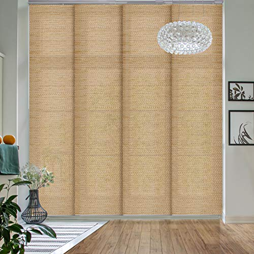 GoDear Design Deluxe Adjustable Sliding Panel Track Blind 45.8'- 86' W x 96' H, Extendable 4-Rail Track Track, Trimmable Natural Woven Fabric, Pecan