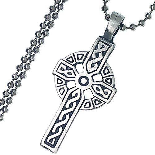 Celtic Solar Cross Norse Viking Medieval Pewter Unisex Men's Pendant Necklace Christian Safety Wealth Money Good Luck Lucky Charm Protection Amulet Warrior Safe Travel Talisman w Silver Ball Chain