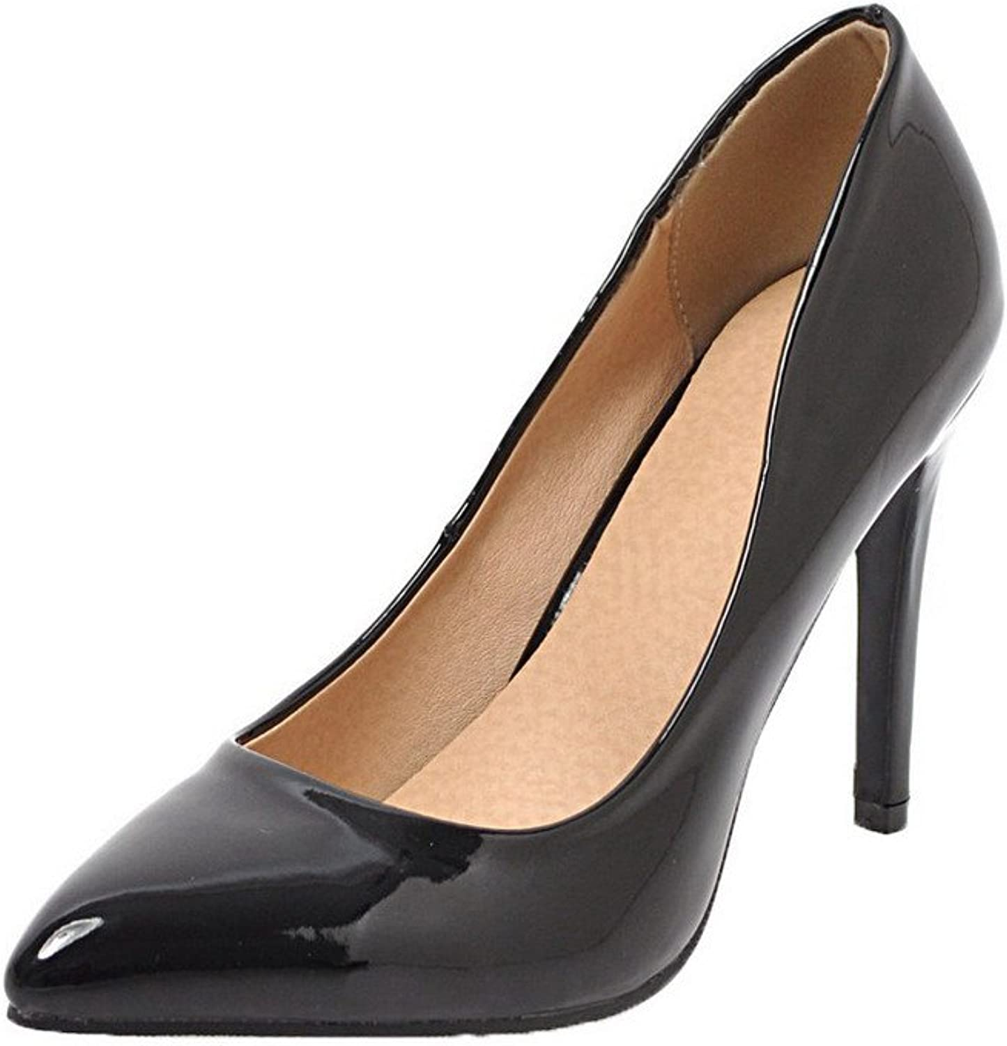 WeenFashion Women's Pull-On Closed-Toe High-Heels Patent Leather Pumps-shoes