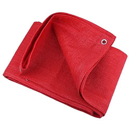 HWLL Malla Sombreo Red de La Sombra de La Tela de La Protección Solar, Lona de Malla Resistente con Una Tasa de Sombreado del 95% con Ojales y Cuerda, Tela de Sombra Roja Espesa Cifrada