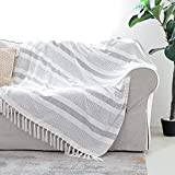 Decorative Grey Ivory Striped Throw with Fringe, Soft Chenille Knitted Farmhouse Lightweight Blanket with Tassels for Couch Sofa Chair Bed Office Home Décor, Gray and Off White ,50' x 60'