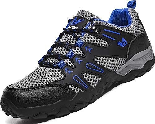 Lvptsh Damen Herren Wanderschuhe Trekking Schuhe Leicht Atmungsaktive Outdoorschuhe Trekking-& Wanderhalbschuhe Wanderstiefel,Grau/Blau,EU43