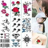 Schneespitze 90 Fogli Tatuaggi Temporanei, Body Art Stickers Più Disegni Impermeabile Rimovibile Temporanei Finto,per Adulti Uomo Donna Bambini