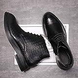 Gym Botas De Chelsea For Hombres Zapatos Superior Superior Toe Redondo PUTE EN Bandas ELASTICAS Cuero SINTÉTICO Costal Anti-TLAY Sold Color (Color : Black, Size : 40EU)