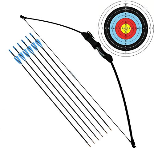 FUNTRESS アーチェリーセット 初心者なリカーブボウ 子供向け伝統的な弓道専用道具 右左手兼用の練習弓 組立簡単 取り外し可能 ティーンエイジャーのプレゼント 矢6本とターゲット紙2枚付属