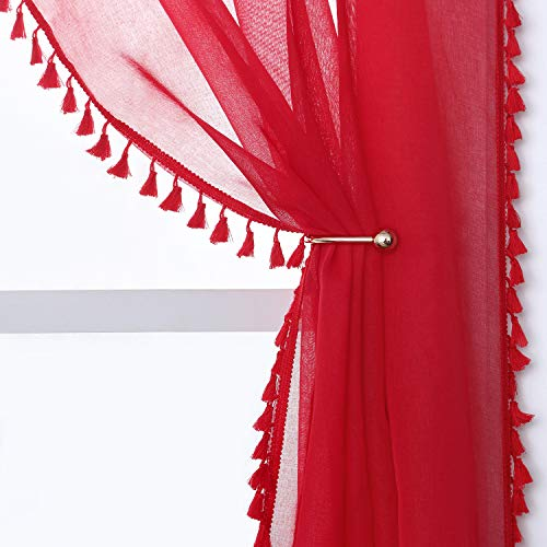 YoungsTex Linen Look Red Sheer Curtains - Grommet Top Tassels Voile Semi Sheer Drapes for Living Room and Bedroom, 2 Panels, 52 x 63 Inch