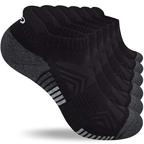 Lapulas Socken herren damen, 6 Paar Sneaker Socken Baumwolle Sportsocken Outdoor Laufsocken mit Frotteesohle Bequemere und Atmungsaktive (Schwarz, 39-42)