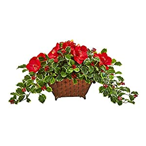 Nearly Natural 17in. Amaryllis, Holly Leaf with Berries Artificial Silk Arrangements, Red/Green