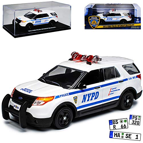 Greenlight Ford Explorer Interceptor Police Polizei New York City NYPD Weiss Blau 5. Generation 2010-2019 1/43 Modell Auto