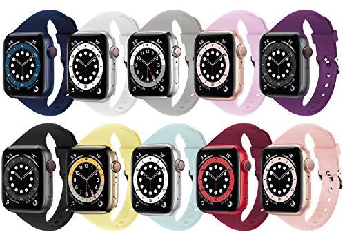 Supore 10Pack iWatch Cinturino Compatible with Apple Watch 38mm 40mm iWatch Cinturini 42mm 44mm Women Men, Cinturino Sportiva in Slim Silicone Traspirante, Applica a Apple Watch SE Series 6 5 4 3 2 1
