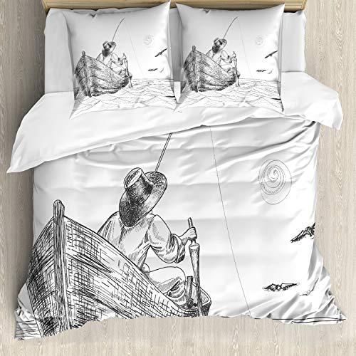 ABAKUHAUS meeuwen Dekbedovertrekset, Visser op de boot Sketch, Decoratieve 3-delige Bedset met 2 Sierslopen, 155 cm x 220 cm, Charcoal Grey White