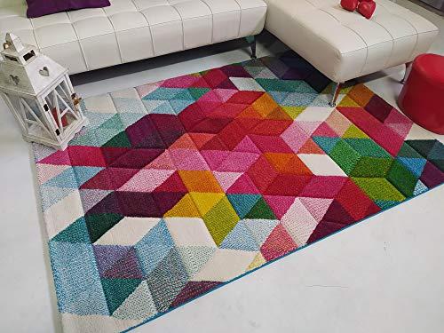 Stock ALFOMBRAS. Alfombra salón geométrica Moderna y Multicolor Modelo Optik. Suave y tupida.120x170.
