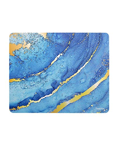 Insten - Mouse Pad, Gold Laser Marble, Hard Plastic Gaming Surface, Ultra Thin, Anti Slip Small Mice Pad, for Optical or Laser Mouse, Blue/Gold
