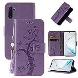 Miagon Portafoglio Flip Custodia per Samsung Galaxy Note 10,Carina Farfalla Albero Gatto Design PU Pelle Libro Stile Magnetica In piedi Funzione Cover,Viola
