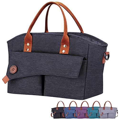 Giotto Insulated Fashionable Adult Lunch Bag for Women Reusable Leakproof Cooler Lunch Box with Removable Adjustable Shoulder Strap for Work Pinic-Gray